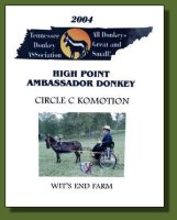 2004 Tennessee Donkey ASSociation High Point Ambassador Donkey!
